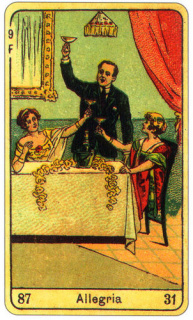 CARD OF L'ALLEGRIA RIGHT AND REVERSE - READING OF THE GYPSY SIBILLE ON LOVE CAREER LUCK FOR FREE ONLINE
