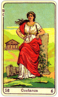 CARD OF LA COSTANZA RIGHT AND REVERSE - READING OF THE GYPSY SIBILLE ON LOVE CAREER LUCK FOR FREE ONLINE
