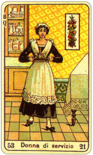 CARD OF LA DONNA DI SERVIZIO RIGHT AND REVERSE - READING OF THE GYPSY SIBILLE ON LOVE CAREER LUCK FOR FREE ONLINE