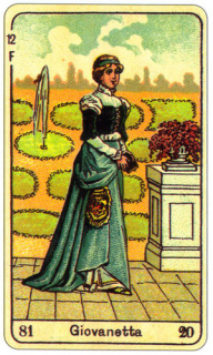 CARD OF LA GIOVANETTA RIGHT AND REVERSE - READING OF THE GYPSY SIBILLE ON LOVE CAREER LUCK FOR FREE ONLINE