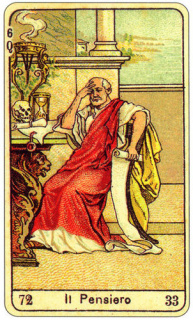 CARD OF PENSIERO RIGHT AND REVERSE - READING OF THE GYPSY SIBILLE ON LOVE CAREER LUCK FOR FREE ONLINE