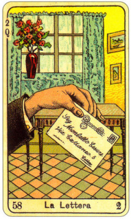 CARD OF LA LETTERA RIGHT AND REVERSE - READING OF THE GYPSY SIBILLE ON LOVE CAREER LUCK FOR FREE ONLINE