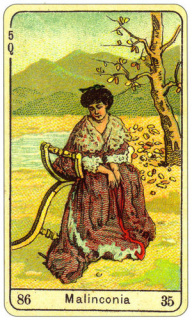 CARD OF LA MALINCONIA RIGHT AND REVERSE - READING OF THE GYPSY SIBILLE ON LOVE CAREER LUCK FOR FREE ONLINE