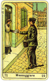 CARD OF MESSAGGIERE RIGHT AND REVERSE - READING OF THE GYPSY SIBILLE ON LOVE CAREER LUCK FOR FREE ONLINE